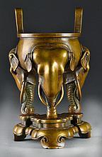 Impressive Chinese Bronze Tripod Censer on Stand