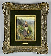 A Daniel Ridgway Knight Oil Painting on Board