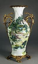 Chinese Famille Rose Porcelain Vase With Bronze Mounts