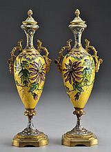 Pr. French Gilt Bronze & Enamel Covered Vases