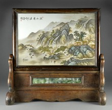 Large Chinese Republic Famille Rose Porcelain Plaque