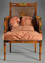 A Sheraton Style Cane & Painted Arm Chair