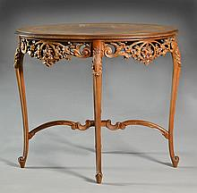 A French Inlaid & Carved Parlor Table