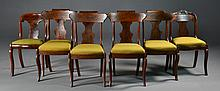 (6) Antique American Tiger Maple & Walnut Dining Chairs