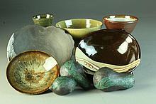 (9) Pcs Japanese & American Studio Pottery