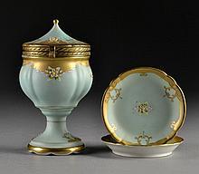 A (3) Pc German Gilt Decorated Porcelain Garniture