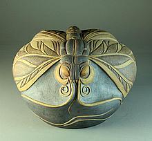 A Large Mid Century Raku Dragonfly Sculpture
