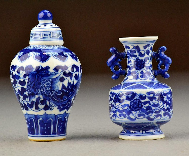 (2) Chinese Qing Blue & White Porcelain Vases