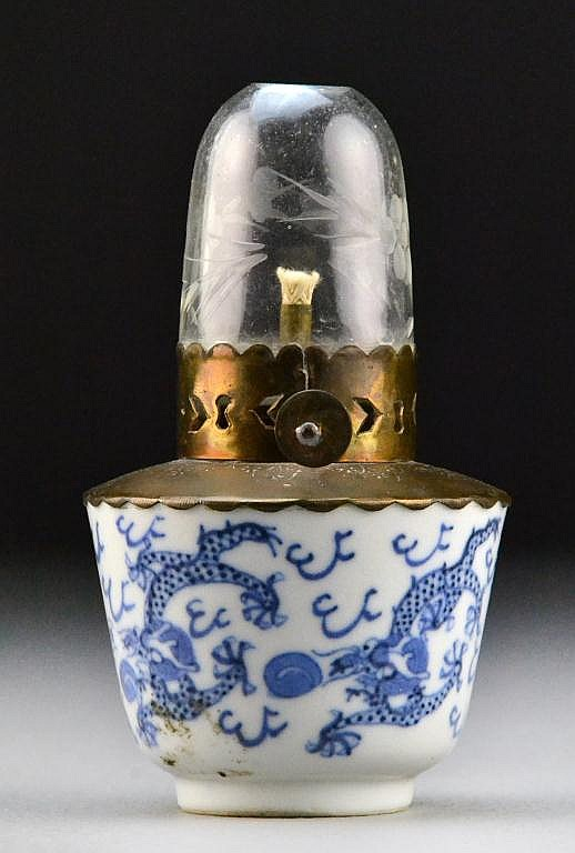 Chinese Qing Blue & White Porcelain & Glass Lamp