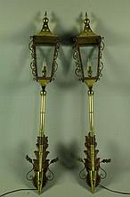 A Fine Pair Italian Brass and Iron Wall Torchiers