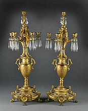 Pr. Of Fine Neoclassical Gilt Bronze Six Light Candelabra