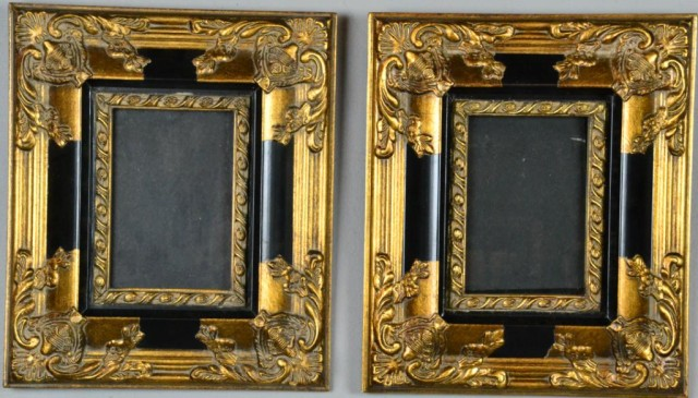Pair Matching Ornate Frames Black Gold