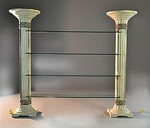 Composition and Glass Lighted Etagere