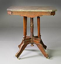 Carved Victorian Marble Top Table