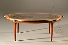 Neo Classical Style Glass & Wood Coffee Table