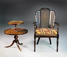 2-Tier Mahogany Stand and Cane Chair