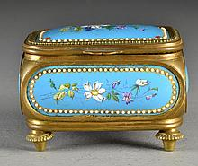 Antique Enamel and Gilt Footed Dresser Box