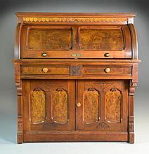 Antique Burlwood & Walnut Eastlake Roll Top Desk