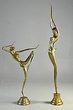 (Pr.) Large Modernistic Brass Scultpures