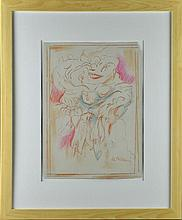 Style of Willem De Kooning Colored Pencil On Paper