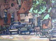 Beint Mankes (1918-1990), 'Marktplein' aquarel, ges. en gedat . '59, 23x30cm