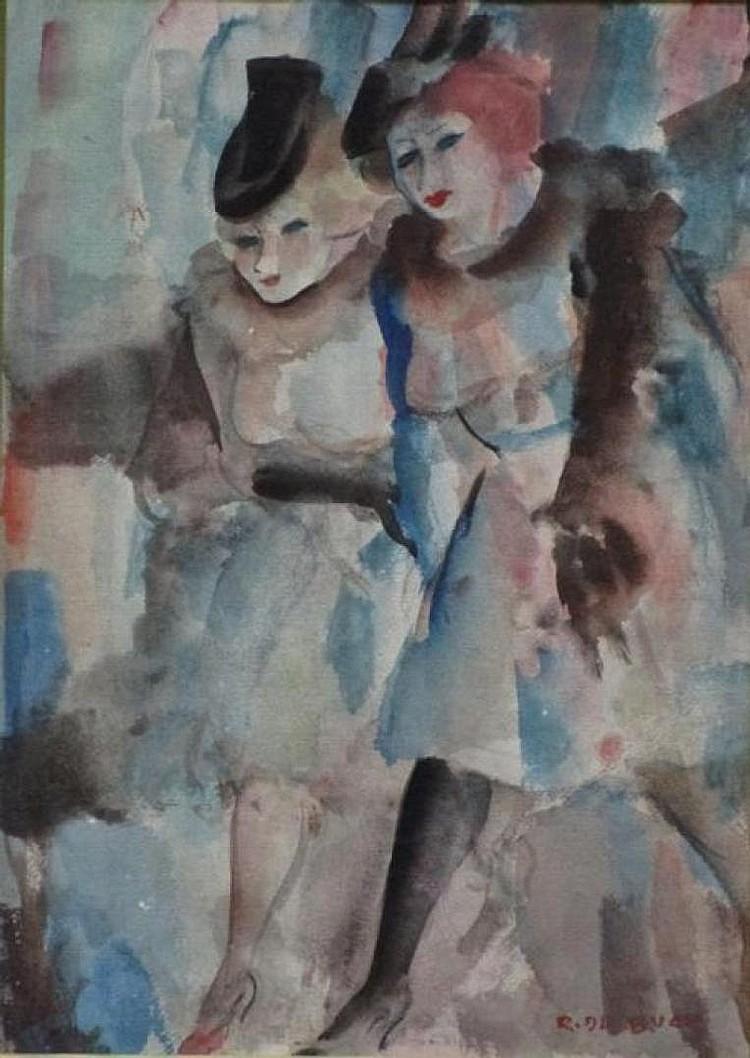 Raphael de Buck (1902-1986) 'Twee Dames op stap' aquarel, ges. 30x21cm