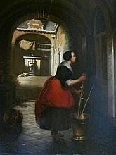 Hubertus van Hove (1814- 1864/65) 'Meid aan de arbeid' ges. olie op paneel, 41x32cm