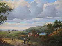 Jan van der Waarden (1811-1872) 'Zomerlandschap met reizigers' paneel, ges. en gedat. 1869, 25x32cm