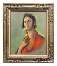 Betti Bernay 1926-2010 Gypsy Man Portrait Painting
