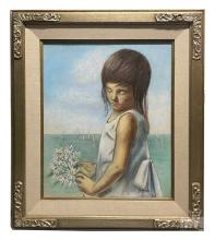 Betti Bernay 1926-2010 Portrait of a Girl Painting