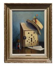 Betti Bernay 1926-2010 Trompe l'oeil Oil Painting