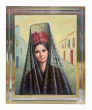 Betti Bernay (1926-2010) Lady in Veil Oil Painting