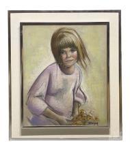 Betti Bernay 1926-2010 Big Blue Eyed Girl Painting