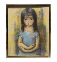 Betti Bernay 1926-2010 Big Eyed Portrait Painting