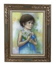 Betti Bernay 1926-2010 Girl in Blue Dress Painting