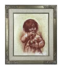 Betti Bernay 1926-2010 Crying Little Girl Painting