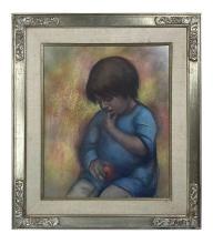 Betti Bernay 1926-2010 Boy Biting Finger Painting