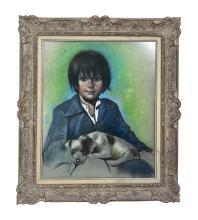 Betti Bernay 1926-2010 Boy Holding Puppy Painting