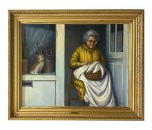 Betti Bernay (1926-2010) Sitting Old Lady Painting