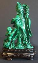CARVED CHINESE MALACHITE FIGURAL GROUP