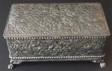 ANTIQUE SILVER-PLATED CIGAR HUMIDOR