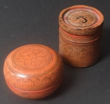 2 INDO-PERSIAN LACQUERED BOXES