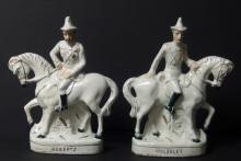PAIR OF 19TH CENTURY STAFFORDSHIRE POTTERY FIGURES