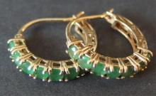 PAIR OF 14KT GOLD & EMERALD EARRINGS