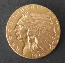 1914-D $5 INDIAN HALF EAGLE GOLD COIN