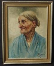 RAFFAELE FRIGERIO PORTRAIT OF AN OLD WOMAN