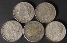 FIVE (5) MORGAN SILVER DOLLAR COINS