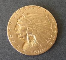 1910 2 1/2 DOLLAR INDIAN HEAD GOLD COIN