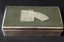 JAPANESE STERLING WOOD LINED CIGARETTE BOX
