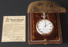 ANTIQUE HAMILTON POCKET WATCH W CASE & PAPERWORK
